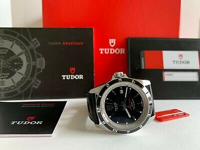 768832c4732 New Tudor Grantour Date Black Dial Leather Strap With Holes Men's Watch  20500N