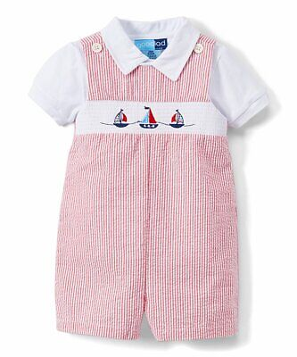 Boys GOOD LAD seersucker sailboat romper outfit 6-9 months NWT nautical smocked