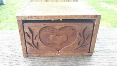 Antique Primitive WOOD BUTTER MOLD PRESS Double Hearts Dovetailed