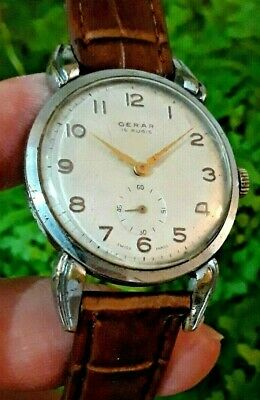 Very Rare Great Vintage Gerar By Cauny Swiss Watch Art Deco,Spider Lugs 1950,