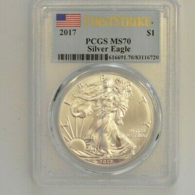 2017 Silver American Eagle First Strike Flag Label PCGS MS70 -720-