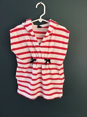 750f32b404ea0 Toddler Girl Size 2 2T Baby Gap Pink White Terry Hooded Swim Cover Up  Swimwear