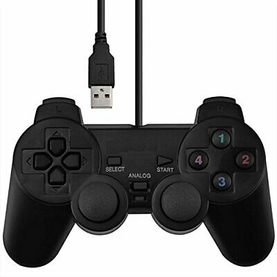 Usb Wired Dual Shock Gaming Controller  Double Vibration Black