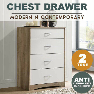 MEYA Scandinavian White Oak Bedside Table Night Stand Modern Drawer Tallboy