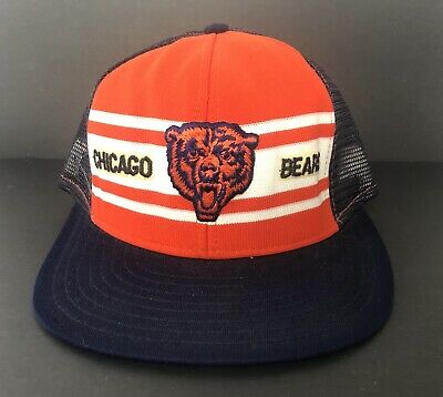 Vintage 80's Chicago Bears NFL Snapback Hat Trucker Mesh Cap AJD Made In USA