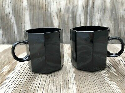 Arcopal France Dishes Novoctime Black Glass Octagon Cappuccino Cups Set Of 2
