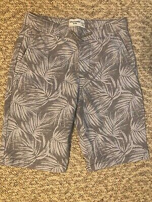 Brand new Boys Abercrombie & Fitch Kids Gray  Palm Tree Pull On Shorts 13/14