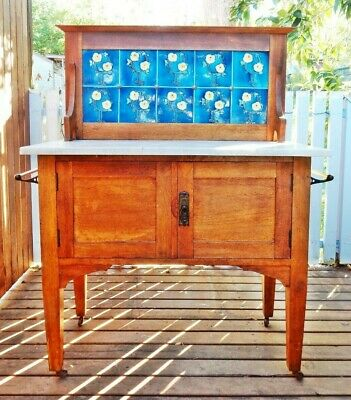 Antique Edwardian Queensland Maple Marble Top Wash Stand Washstand Blue Tiles