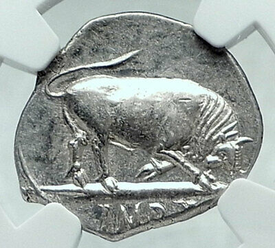 AUGUSTUS 15BC Authentic Ancient Silver Roman Coin BULL of Thourioi NGC i78040