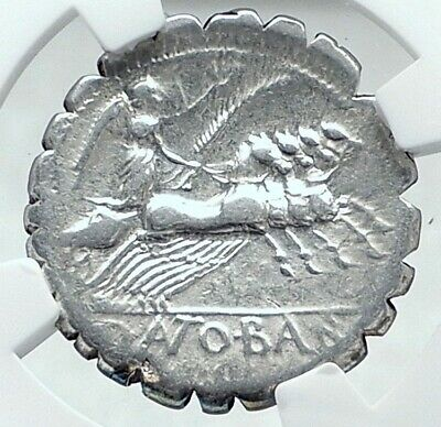 Roman Republic 83BC Authentic Ancient Silver Coin JUPITER & CHARIOT NGC i78042