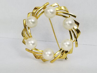 Vintage Mikimoto 14K Solid Yellow Gold Brooch with 6 Akoya Pearls