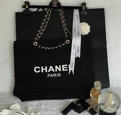 51d53ca53f4e70 VIP GIFT Canvas Tote Beauty Bag Black Gold Hardware with CC Logo 16 x 13 x