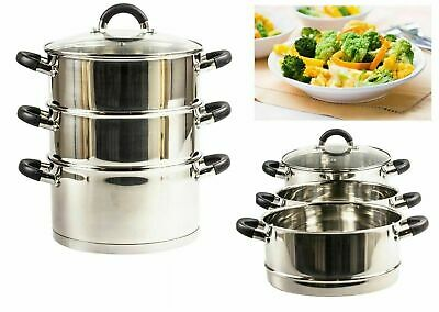 Premium 3 Tier 20cm Steamer Set Food Vegetable Steam Pot Set with Glass Lid