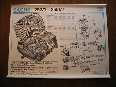 vintage sachs engine 1252/7 2551/7 engine exploded drawing moped engine 31 x