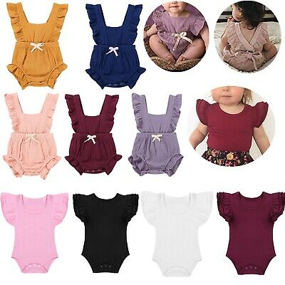 Newborn Infant Baby Girls Ruffle Romper Bodysuit Jumpsuit Clothes Outfits Summer