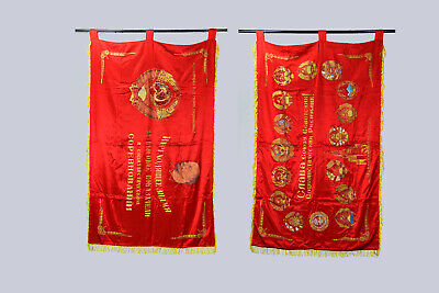 Vintage Soviet Union Russian USSR Lenin Large Red Flag Double-Sided Banner