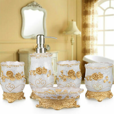 5pcs Bathroom Resin Bath Accessories Set Toothbrush Dish Soap Holder Rose Style
