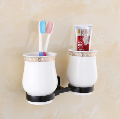 Wall Mount Space Aluminum Toothbrush Double Ceramics Cup Holder Tumbler Bracket
