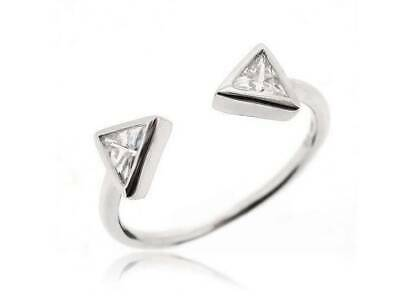 Triangle Geometric Minimal Adjustable Finger Ring 925 Sterling Silver Size 5-12