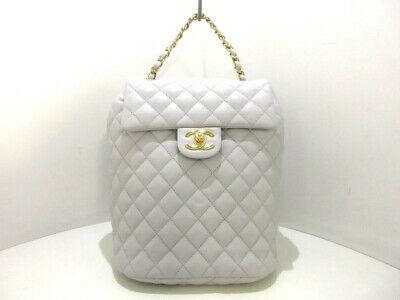 af50a9bf917b Auth CHANEL Matelasse A91121 LightGray Lambskin Backpack Gold Hardware