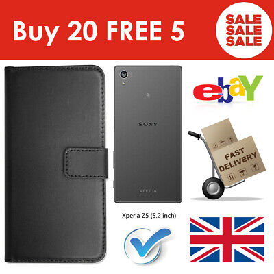 ALL NEW Buy 20 FREE 5 Sony XPERIA Z5 Leather 3in1 Wallet Case UK INVENTORY SALES