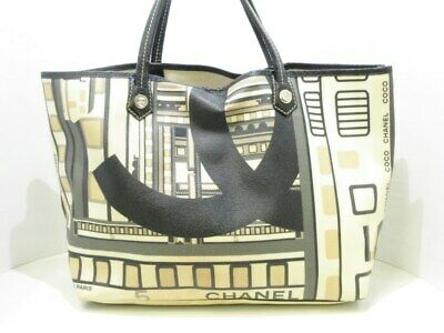 92d6d1820d2e71 Auth CHANEL Central Station Beige Black DarkGray PVC Leather Tote Bag