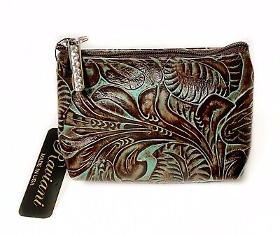 Raviani Coin Bag Brown & TQ Western Tooled Floral Embossed Leather Made In USA