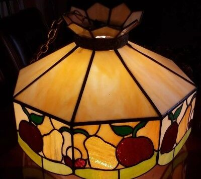 Large  Stained Leaded GLASS Hanging Ceiling light Chandelier Fruits