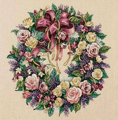 """DIMENSIONS GOLD COLLECTIONS""""WREATH OF ROSES""""CROSS STITCH KIT Kreuzstich STICKPAC"""