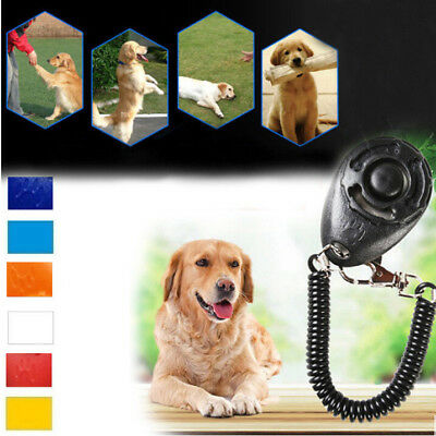 Cool Pet Dog Cat Button Click Clicker Trainer Training Obedience Aid Wrist Strap