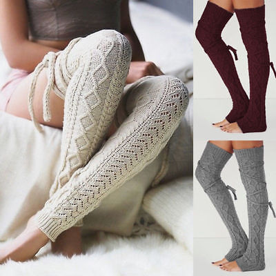 Women Warm Winter Leg Warmers Over Knee Crochet Knitted Stocking Long Boot Socks
