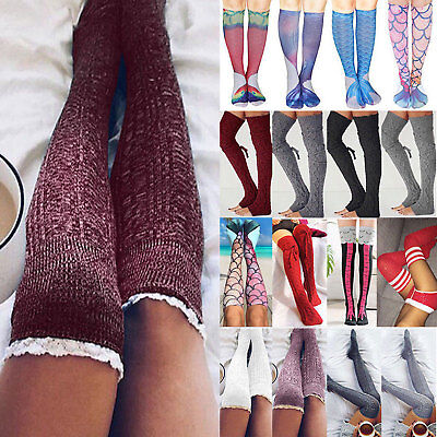 Womens Over Knee Long Socks Knit Winter Thigh High Stocking Winter Leg Warmers