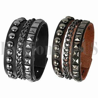 Men Punk Gothic Biker Wide Leather Bracelet Braided Rivet Chain Bangle Wristband