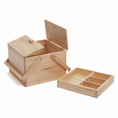 Milward Wooden Twin Lid Craft/Sewing Box with Internal Accessories Tray