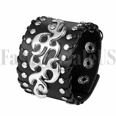 Men Punk Gothic Biker Wide Leather Braided Flame Rivet Bangle Wristband Bracelet