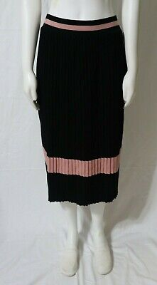 f02fcd732 Lapis - Women's Black And Pink Pleated Skirt - Sweater Knit - Size S