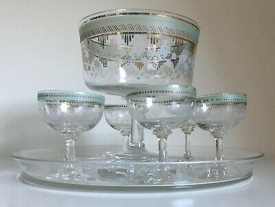 French Antique Nap III Crystal Liqueur/Punch Fruit Set on Tray