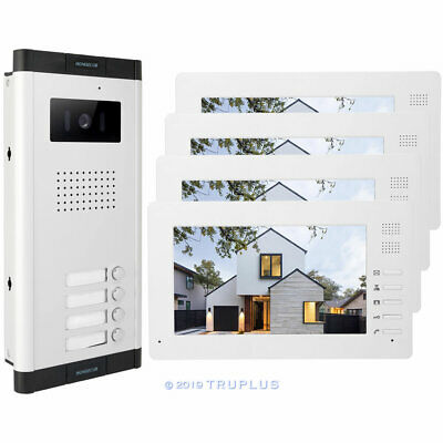 7'' Smart Apartment Intercom Kit with HD Camera, 4 Colour Monitor, 4 Bell Button