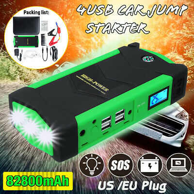 82800mAh Car Jump Starter 4 USB LED Emergency Booster Power Bank Charger Battery