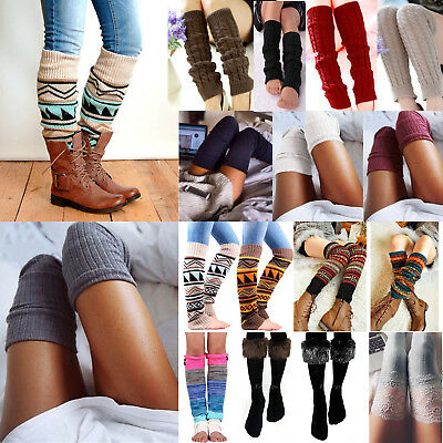 Women Cable Knit Winter Leg Warmers Socks High Knee Long Boot Legging Stockings