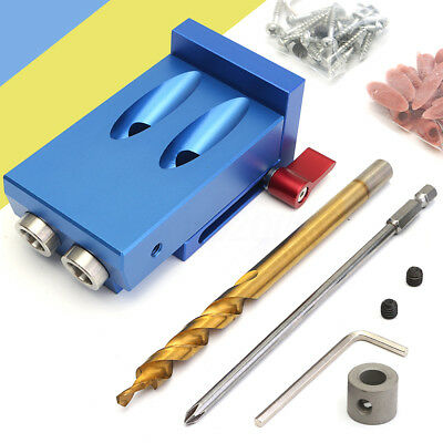 Pocket Hole Jig Drill Guide Kit Woodworking Carpentry Tool Cutter Screw Plug Set