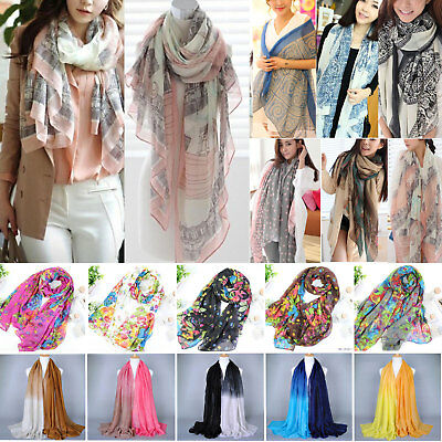 Ladies Women Pashmina Soft Cotton Silk Wrap Shawl Scarf Long Voile Stole Scarves
