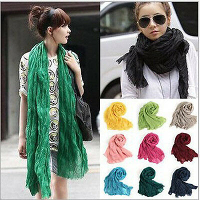 Fashion Women Cotton Scarf Linen Mix Crinkle Long Solid Scarf Wrap Shawl Stole