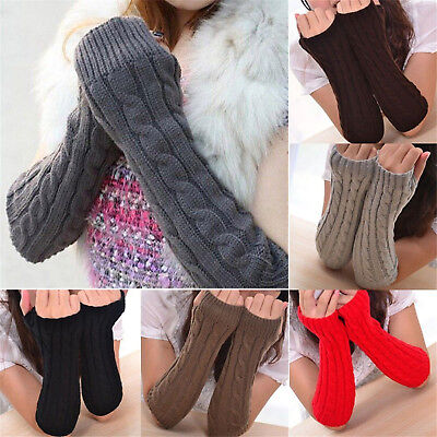 Women Winter Knit Wrist Arm Hand Warmer Knitted Long Fingerless Gloves Mittens