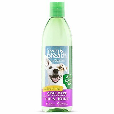 TropiClean Fresh Breath Water Additive Plus Hip Joint Oral Care Pets Dogs 16 oz