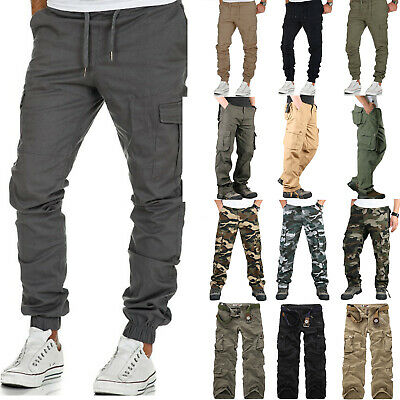 Mens Combat Cargo Trousers Work Tactical Military Army Camo Chino Long Pants AU