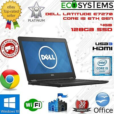 Dell Latitude E7270 Laptop i5-6300U 2.4GHz 4GB 128GB SSD USB3 HDMI Win 10 12.5