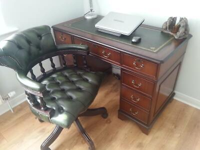 Home Study Mahogany Office Desk With Green Leather Top