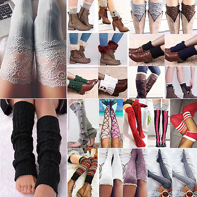 Women Knit Over Knee Leg Warmer Legging Lace Thigh High Long Boot Sock Stockings
