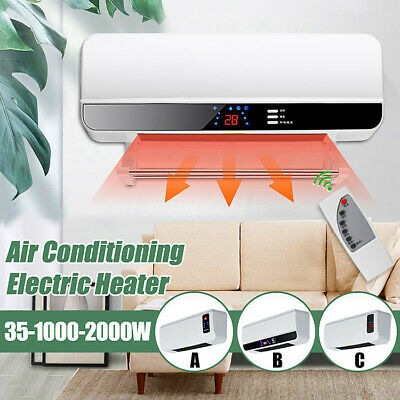 2000W Wall Mounted Electric Fan Heater Space Timing Air Conditioner Dehumidifier
